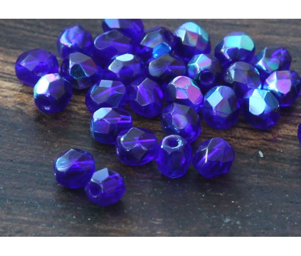 Cobalt AB Czech Glass Beads, 4mm Faceted Round