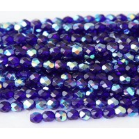 Cobalt AB Czech Glass Beads, 6mm Faceted Round