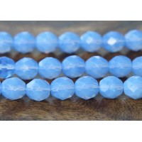 Milky Sapphire Czech Glass Beads, 8mm Faceted Round
