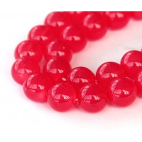 Milky Strawberry Red Czech Glass Beads, 10mm Round