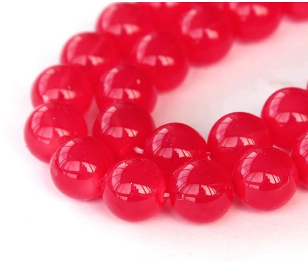 Milky Strawberry Red Czech Glass Beads, 10mm Round