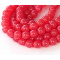 Milky Strawberry Red Czech Glass Beads, 6mm Round