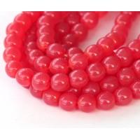 Milky Strawberry Red Czech Glass Beads, 6mm Round