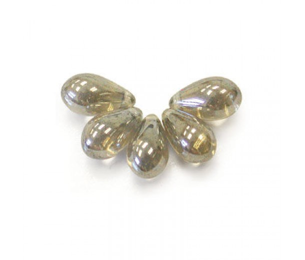 Black Diamond Luster Czech Glass Beads, 9x6mm Teardrop