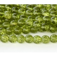 Crackle Olivine Czech Glass Beads, 10mm Round