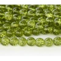 Crackle Olivine Czech Glass Beads, 8mm Round