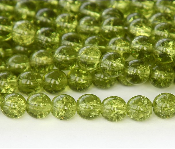 Crackle Olivine Czech Glass Beads, 8mm Round