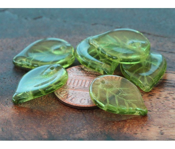 Olivine Czech Glass Beads, 18x13mm Flat Leaf
