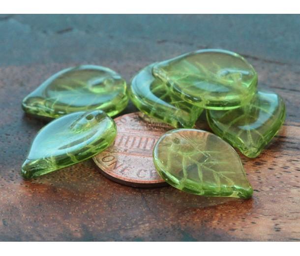 Olivine Czech Glass Beads, 18x13mm Flat Leaf, Pack of 20