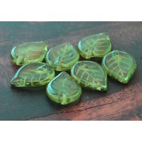 Olivine Czech Glass Beads, 18x13mm Flat Leaf