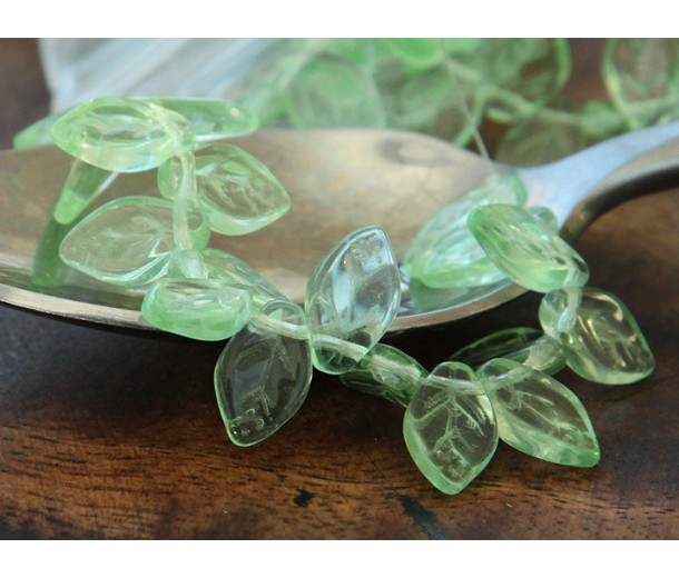 Peridot Czech Glass Beads, 12x7mm Leaf