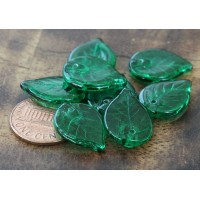 Peridot Czech Glass Beads, 18x13mm Flat Leaf