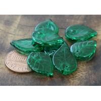 Peridot Czech Glass Beads, 18x13mm Flat Leaf