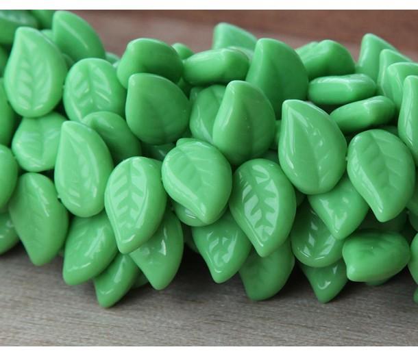 Opaque Green Czech Glass Beads, 12x9mm Eucalyptus Leaf