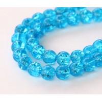 Crackle Aquamarine Czech Glass Beads, 10mm Round