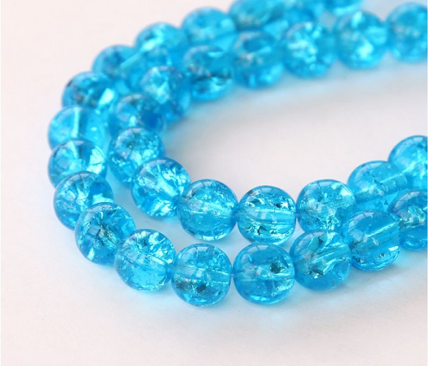 Crackle Aquamarine Czech Glass Beads, 8mm Round