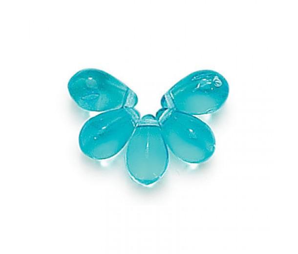 Aquamarine Czech Glass Beads, 9x6mm Teardrop