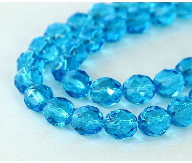 Aquamarine Czech Glass Beads, 8mm Faceted Round