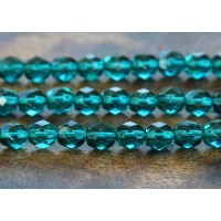 Viridian Czech Glass Beads, 6mm Faceted Round