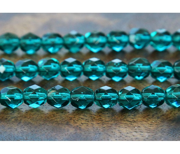 Viridian Czech Glass Beads, 6mm Faceted Round, 7 Inch Strand