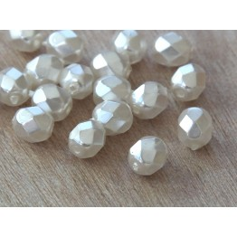 Snow White Pearl Czech Glass Beads, 6mm Faceted Round