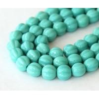 Turquoise Czech Glass Beads, 8mm Melon Round