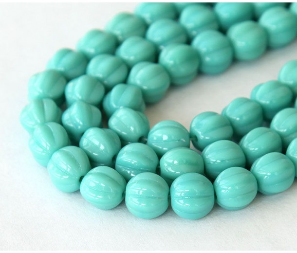 Turquoise Czech Glass Beads, 8mm Melon Round