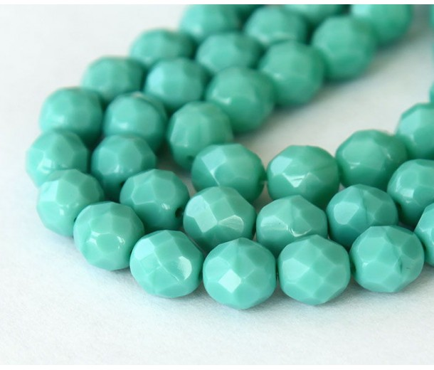 Turquoise Czech Glass Beads, 6mm Faceted Round
