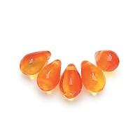 Fire Opal Czech Glass Beads, 9x6mm Teardrop