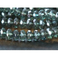 Transparent Green Luster Czech Glass Beads, 7x5mm Rondelle