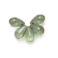 Transparent Green Luster Czech Glass Beads, 9x6mm Teardrop