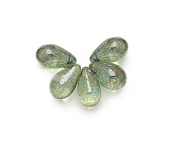 Transparent Green Luster Czech Glass Beads, 9x6mm Teardrop, Pack of 50
