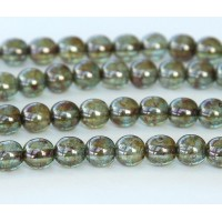 Transparent Green Luster Czech Glass Beads, 6mm Round