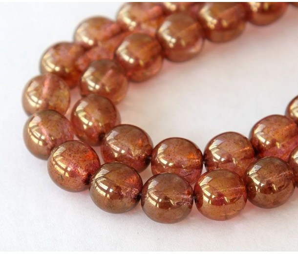 Rose Gold Topaz Luster Czech Glass Beads, 10mm Round