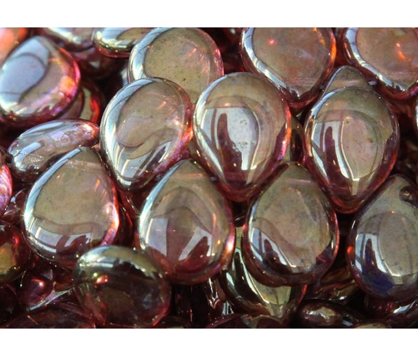 Rose Gold Topaz Luster Czech Glass Beads, 12x16mm Pear Shaped Drop, Pack of 10