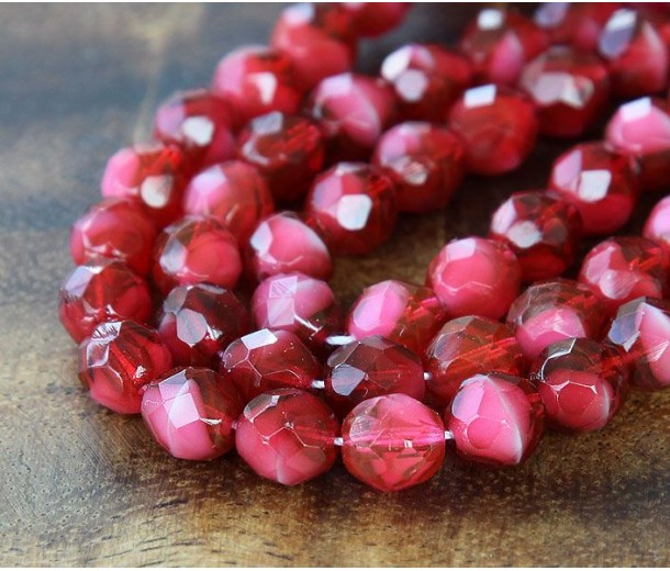 Fuchsia Pearl Czech Glass Beads, 10mm Faceted Round