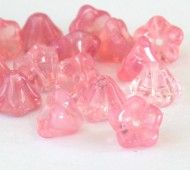 Light Milky Pink Czech Glass Beads, 8x6mm Bell Flower