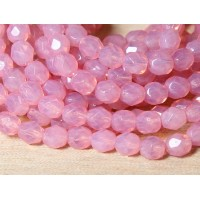 Milky Pink Czech Glass Beads, 6mm Faceted Round