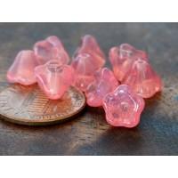 Milky Pink Czech Glass Beads, 8x6mm Bell Flower