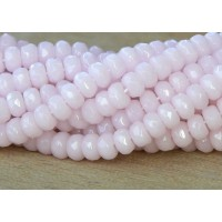 Soft Pink Opal Czech Glass Beads, 5x3mm Rondelle