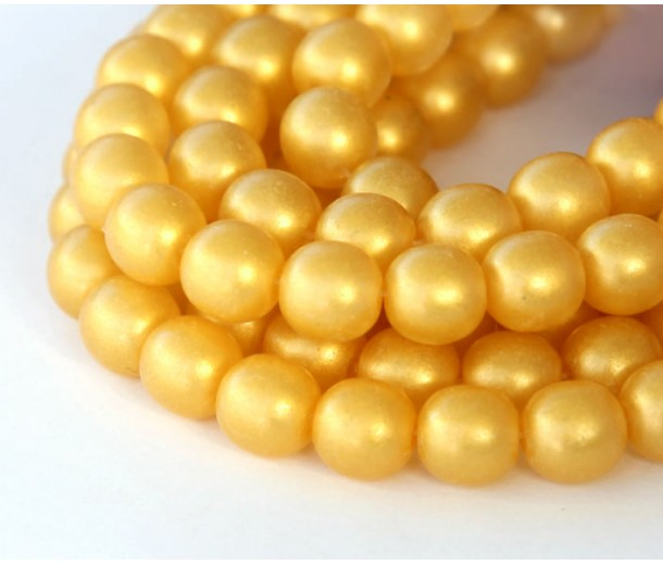 Suede Gold Lame Czech Glass Beads, 8mm Round