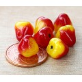 Milky Yellow Red Czech Glass Beads, 10mm Pear