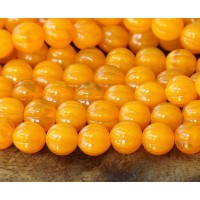 Opal Orange Czech Glass Beads, 8mm Melon Round