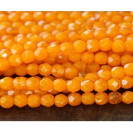 Opal Orange Czech Glass Beads, 6mm Faceted Round