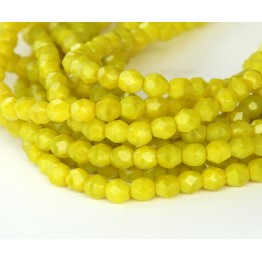 Chartreuse Czech Glass Beads, 4mm Faceted Round