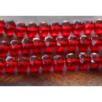 Ruby Czech Glass Beads, 7x5mm Rondelle