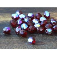 Garnet AB Czech Glass Beads, 4mm Faceted Round