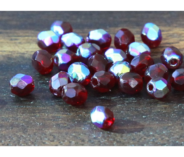 Garnet AB Czech Glass Beads, 4mm Faceted Round