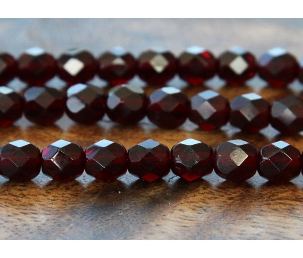 Garnet Czech Glass Beads, 6mm Faceted Round