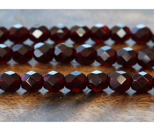 Garnet Czech Glass Beads, 6mm Faceted Round